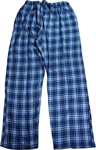 Hanes Mens Classic Flannel Plaid Lounge Sleep Pajama Pant, Blue 40187-Medium