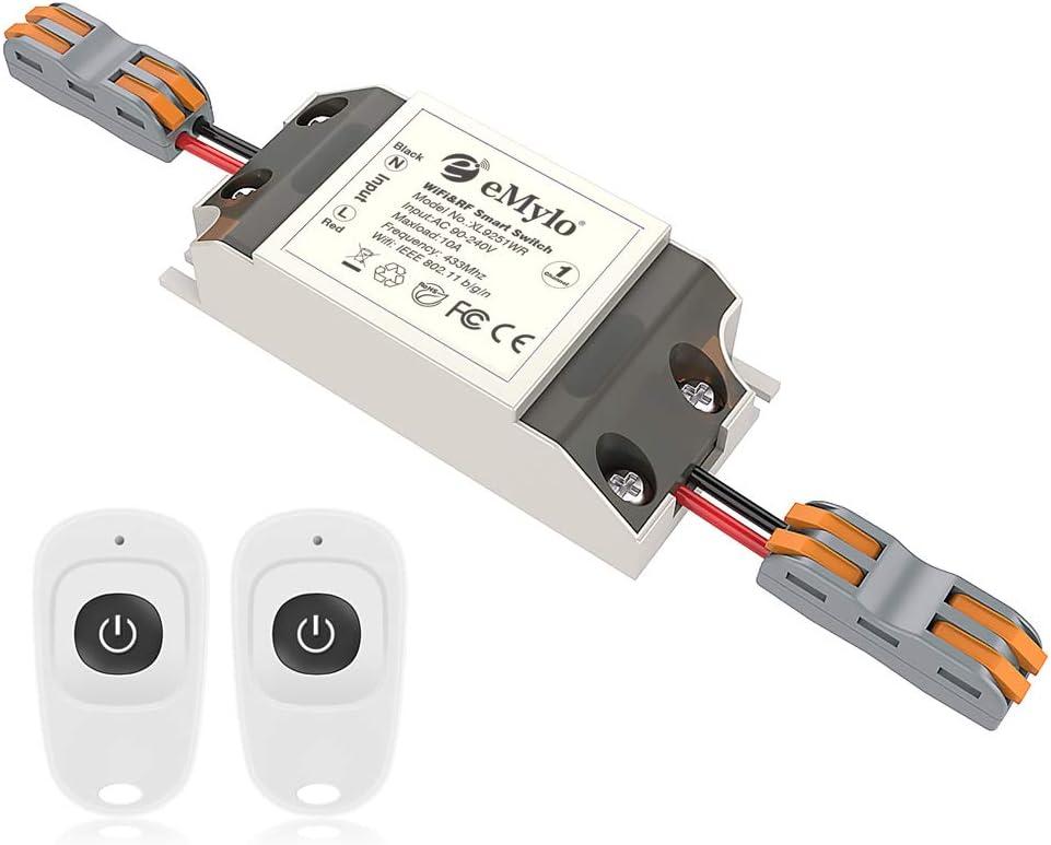 Smart Wifi RF Switch Módulo de relé inalámbrico eMylo control remoto 1 canal 220V Toma de automatización del hogar 433Mhz Compatible con Alexa/Google Assistant/IFTTT a través del teléfono: Amazon.es: Bricolaje y herramientas