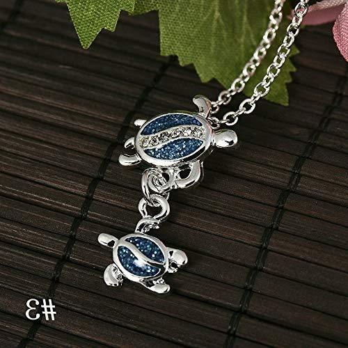 Mikash 1PC Silver Blue Opal Sea Turtle Cutout Pendant Chain Women Necklace Beach Gift | Model NCKLCS - 37346 | ()