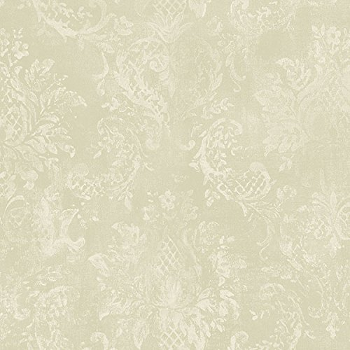 Norwall SD36104 Canvas Damask Prepasted Wallpaper, Green, Cream