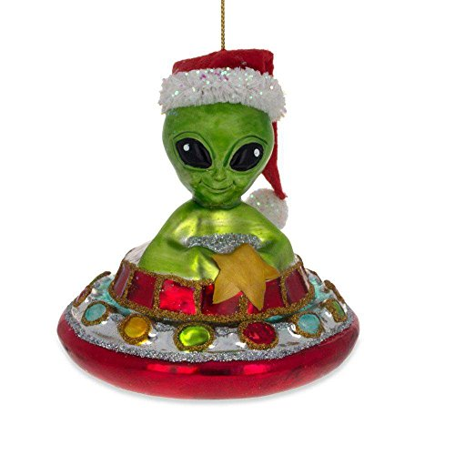 BestPysanky Santa Alien in a Saucer UFO Glass Christmas Ornament 4.2 Inches