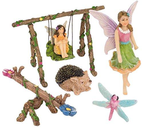 Patio Eden 6 Piece Fairy Garden Accessories Set - Miniature Fairies for Garden Kit