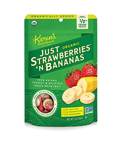 Karen's Naturals Organic Just Strawberries 'N Bananas, 2 Ounce Pouch (Pack of 6) (Packaging May Vary) Organic All Natural Freeze-Dried Fruits & Vegetables, No Additives, Non-GMO
