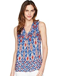 Tribal Womens Printed Sleeveless Blouse w/Front Pleat