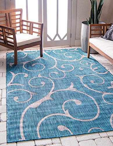 Unique Loom Outdoor Botanical Collection Vine Floral Transitional Indoor and Outdoor Flatweave Teal  Area Rug (7' 0 x 10' ()