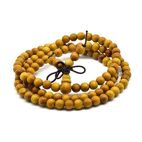 - Zen Dear Natural Golden Sandalwood Mexican Bocote Mala Prayer Bracelet Link Wrist Necklace Beads (6mm 108 Beads)