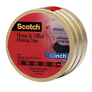 Scotch(R) Home and Office Masking Tape 3436-3, 3/4-inch x 54.6 Yards, 3 Pack