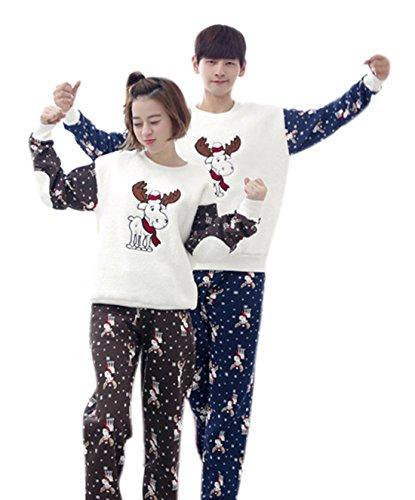 Men's Lovely Winter Flannel Cartoon Reindeer Pajamas Set XXL by FEESON