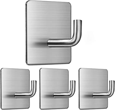 Hat kaveno Adhesive Hooks SUS304 Stainless Steel Waterproof Heavy Duty Wall Hooks for Hanging Coat Towel Robe Hook Rack Wall Mount- Kitchen Bathroom and Bedroom Square Hook 4-Packs MBlackA02