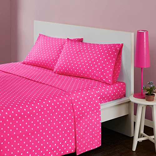 Mi-Zone Polka Dot Printed 100% Cotton Percale Ultra Soft 3 Piece Sheet Set for Girls Bedding, Twin Size, Dark Pink