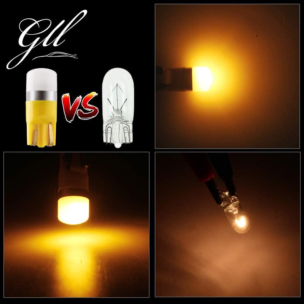 GLL T10 501 LED Ampoules Rose W5W 194 168 2825 Wedge T10 Ampoules Sans Capuchon 3030-1SMD Pour la Voiture Int/érieur D/ôme L/éger Tableau de Bord Lat/éral Lumi/ère de Plaque de Tronc