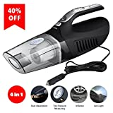 #4: Car Vacuum Cleaner Infitary Auto Vacuum Small Car Vacuum 4-in-1 Handheld Auto Portable Vacuum Cleaner Collector Wet/Dry 12V 100W Vacuum with Tire Inflator Tire Pressure Gauge and Led Light (Black)