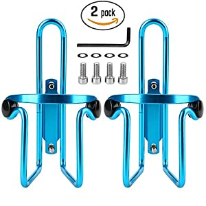 Reehut Bike Water Bottle Cages (2-Pack), Lightweight Aluminum Alloy Bicycle Water Bottle Holder Brackets for Outdoor Activities - Blue