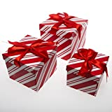 Forever Beautiful Christmas Nesting Gift Boxes Red & White Stripes
