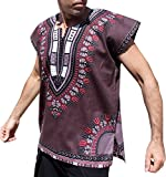 RaanPahMuang Brand Unisex Bright Cotton Africa Dashiki Afrikan Sleeveless Cap Shirt, Large, Dark Gray