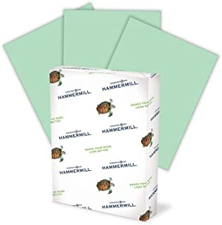 product image for Hammermill Colored Paper, 20 lb Green Printer Paper, 8.5 x 11-1 Ream (500 Sheets) - Made in the USA, Pastel Paper