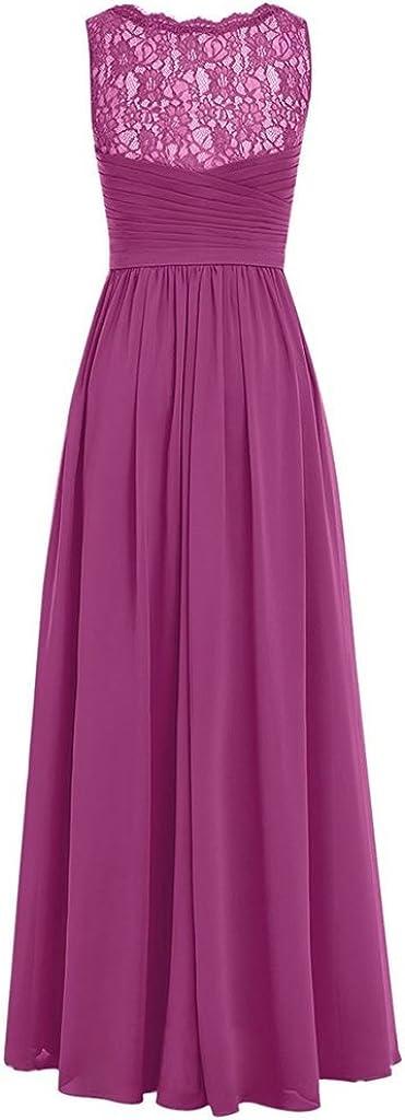 APXPF Femme v-Cou Longue Robe de Bal en Mousseline de Soie Robe de Demoiselle d'honneur Robe de soirée en Dentelle Corail