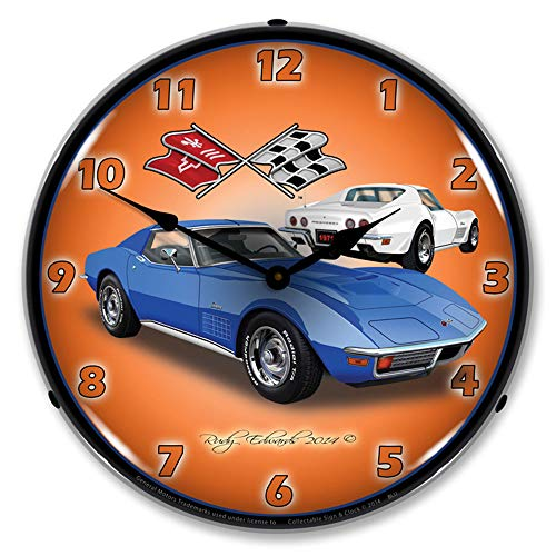 1971 Corvette Stingray, Blue LED Wall Clock, Retro/Vintage, Lighted, 14 inch