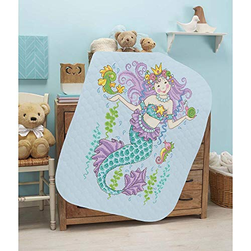 Herrschners Pre-Quilted Mermaid Princess Baby Quilt Stamped Cross-Stitch Kit
