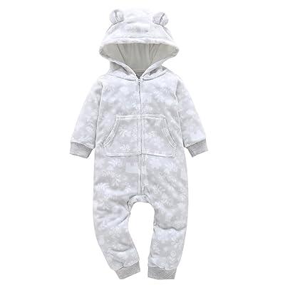1779bf2bada Kintaz Baby Boys Girls Winter Thicker Deer Print Hooded Romper Jumpsuit  Home Outfit Fleece Christmas PJs with Zipper