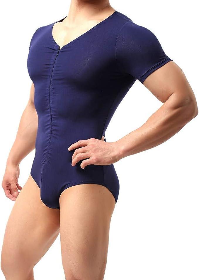 CSMARTE Mens One-Piece Boxers Leotard Soft Bodysuit Shorts Stretch Underwear Sportswear Jumpsuit