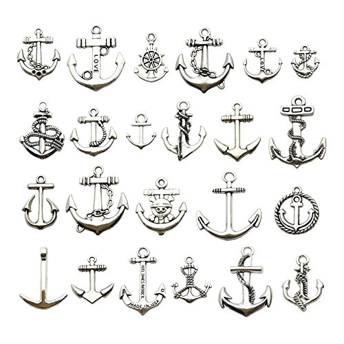 (100g (about 50pcs) Craft Supplies Antique Silver Ship Wheel Anchor Charms Pendants for Crafting, Jewelry Findings Making Accessory For DIY Necklace Bracelet m63 (Antique Silver Anchor))