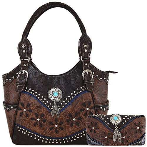 Tooled Leather Laser Cut Concealed Purse Conchos Feather Country Western Handbag Shoulder Bags Wallet Set (Coffee Set)