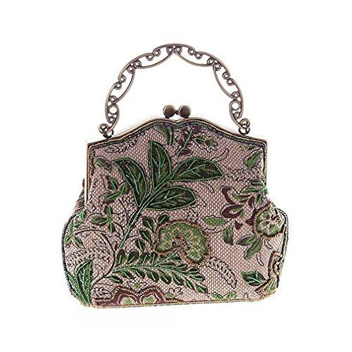 Women Linen Flower ZJ Bag Handbag Shoulder Embroidered Evening Bags Small Green Party amp;OS Vintage Knitting CWqcpf5