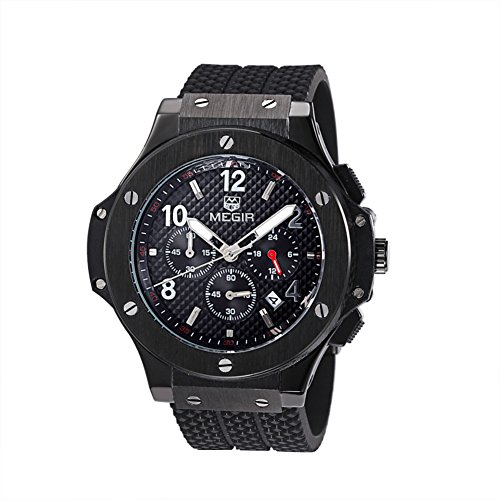 MEGIR Mens Wrist Watch,Analog Quartz Sports Military Silicone Watches with Big Dial,Waterproof Fashion Casual Chronograph Wristwatch for Business Office Work School Outdoor,Best Gifts for Men