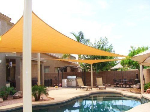 Petra's 23 Ft. X 23 Ft. X 23 Ft. Triangle Desert Sand Sun Sail Shade. Durable Woven Outdoor Patio Fabric w/ Up To 90% UV Protection. 23x23x23 (Shade Sail Desert Sand)