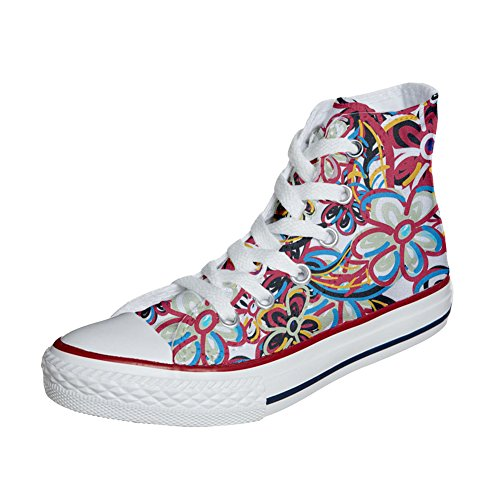 Converse All Star Hi Canvas, scarpe personalizzate (scarpe artigianali) Floreal Abstract