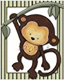 "Little Mod Pod Monkeys - Nursery Art Prints (8""x10"", Monkey 2)"