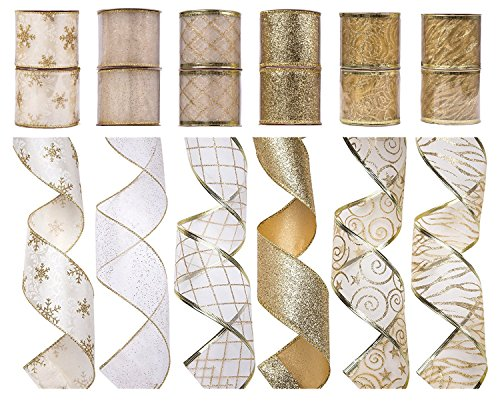 SANNO 12 Rolls Wired Decorations, Christmas Ribbon Assorted Sheer Glitter Ribbon Tulle Decorations Wired Edge Ornaments 36 Yards -Gold