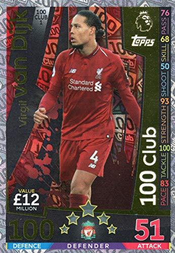 Match ATTAX Extra 18/19 Virgil Van DIJK 100 Club Trading Card - Liverpool (Match Attax Club 100)