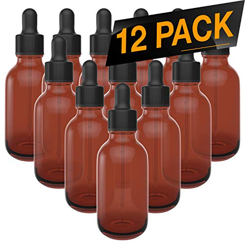 12 Pack Essential Oil Dropper Bottles - Round Boston Empty Refillable Amber Bottle with Glass Dropper for Liquid Aromatherapy Fragrance Lot - (2 oz) 60ml