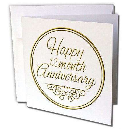3dRose Happy 12 Month Anniversary Gold Text 1 Year Together Anniversaries Greeting Cards, Set of 6 (gc_193721_1)