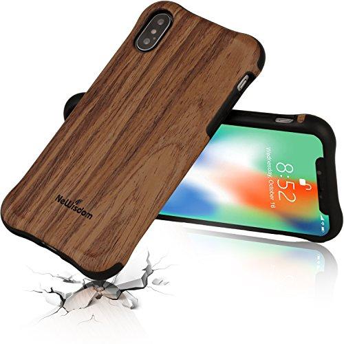 NeWisdom iPhone X ケース アイフォンX ケース ウッド 木製 天然木TPU シリコン 木 木目 木調 薄型 耐衝撃 アイフォンX スマホケース バンパー(iPhoneX Case Wood 衝撃吸収 紫檀) …