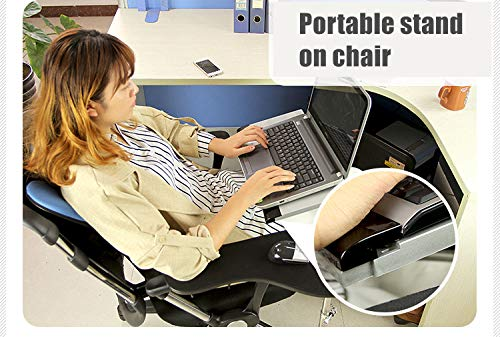 Ergonomic laptop//keyboard//mouse stand//mount//holder installed to chair-Silver