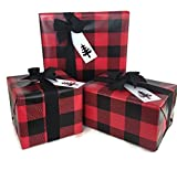 Lumberjack Gift Wrap Paper (Red Buffalo Plaid) for Christmas Gift Wrapping, 24'' x 85 FT, with Black Grosgrain Ribbon (50 YDS) and White Gift Tags (50)