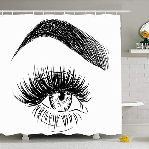 Ahawoso Shower Curtain 66x72 Inches Makeup Eyelash Eyebrow Big Eye Fake Close Lash Extensions Color Black Brunette Smooth Waterproof Polyester Fabric Set with Hooks