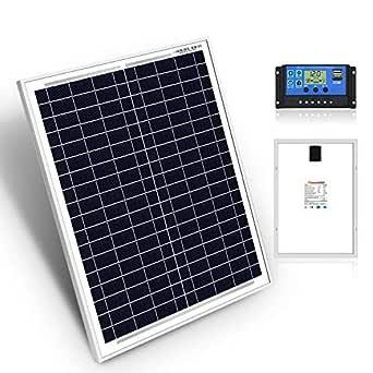 DOKIO 20W Kit de paneles solares MONOcristalino CON REGULADOR solar para carga 12V Batería FáCIL DE LLEVAR Ideal para caravana, barco, cobertizo, automóvil, autocaravana, camping