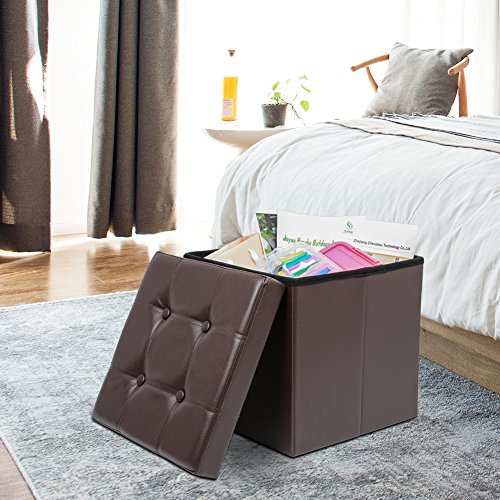 Amoiu 15'' x 15''x 15'' Folding Storage Ottoman Cube Foot Rest Stool Seat Coffee Table - Faux Leather, Brown by Amoiu (Image #1)