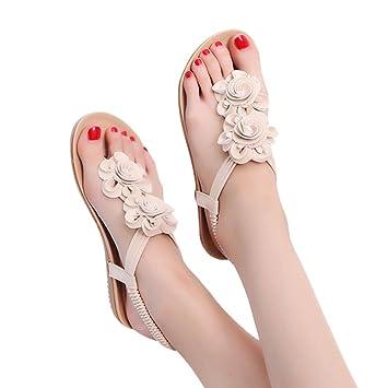 Calzado Chancletas Tacones Sandalias de Mujer de Verano Sandalias Planas de Flores Romanas Zapatos Casuales Zapatillas ❤ Manadlian: Amazon.es: Deportes y ...