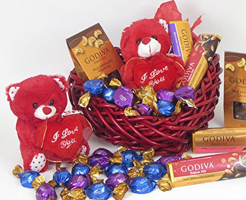 Waster Basket alternative Godiva CHOCOLATE truffles in a WOOD BASKET. A real wood basket, Includes 2 solid chocolate bars, chocolate covered cashews, chocolate truffles and a Valentine's Teddy.
