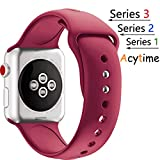 For Apple Watch Band, Acytime Durable Soft Silicone Replacement iWatch Band Sport Style Wrist Strap for Apple Watch Band Series 3 Series 2 Series 1 (Dark Red, 38mm S/M)
