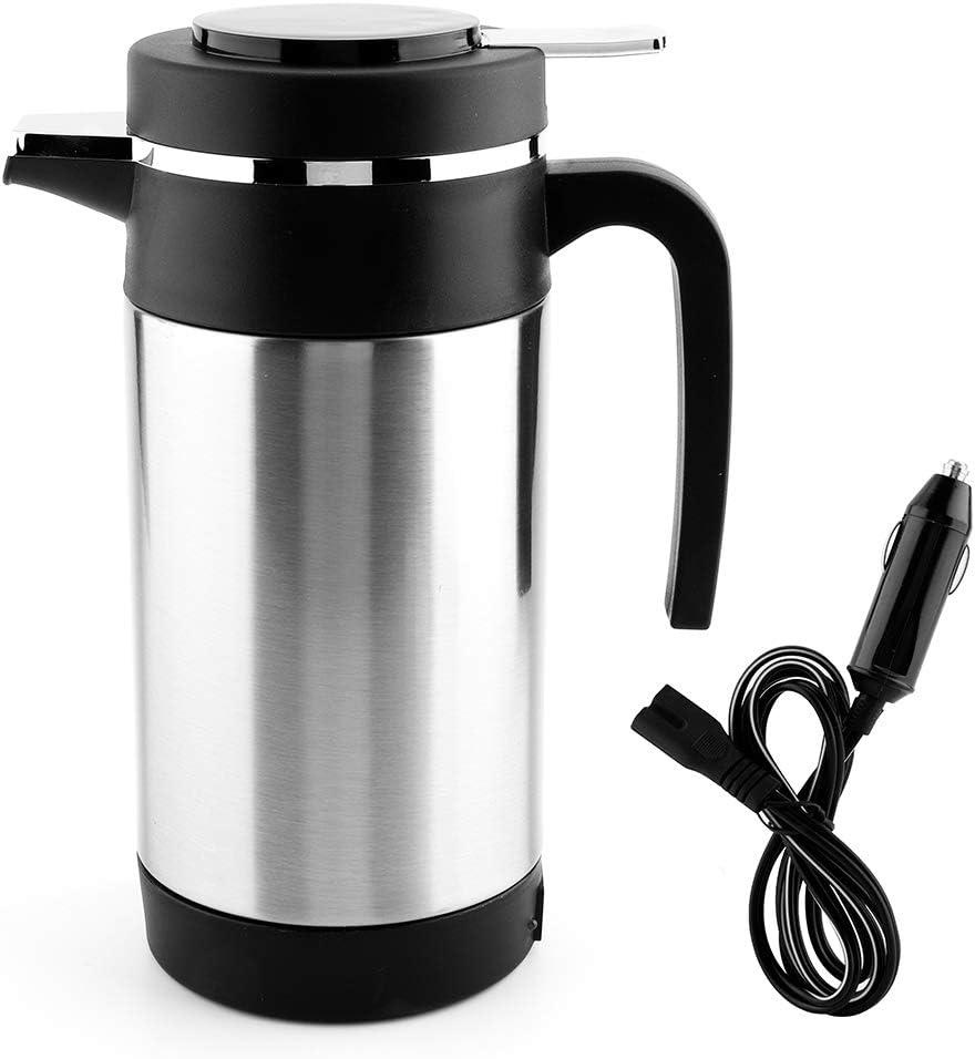 Qiilu Taza de Agua de la calefacción del Coche 1000ML, Tetera eléctrica del Coche del Acero Inoxidable Taza del Termo del Agua del té del café 12V