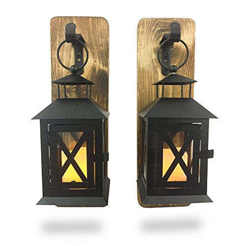 Heartful Home Rustic Wall Sconces Set of 2 - Lantern and Electric Candles - Primitive Country - #1 Housewarming Wedding Shower Gift (Provincial Lantern)
