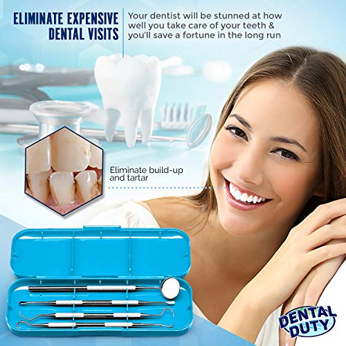 Professional Dental Hygiene Kit – Calculus & Plaque Remover Set – Stainless Steel Tools-Tarter Scraper, Tooth Pick…