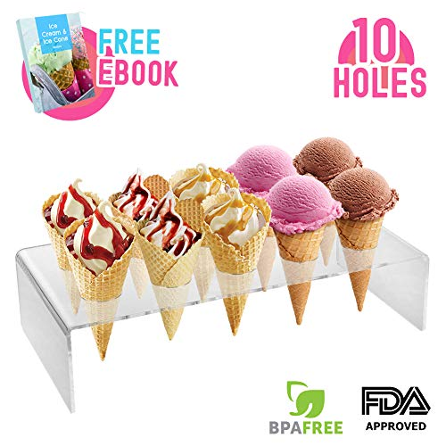 - Ice Cream Cone Holder Stand with 10 Holes Capacity, Clear Acrylic Waffle Cone Holder for Mini Ice Cream Cones Snow Cone Hand Roll Sushi Popcorn Sweets Savory, Ice Cream Recipe Ebook Included