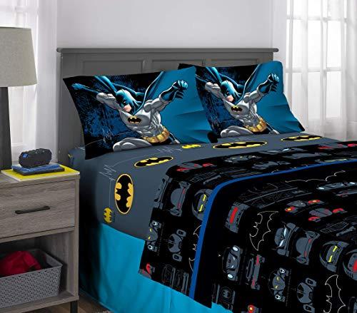 Warner Bros Batman Kids Bedding Super Soft Microfiber Sheet Set, 4 Piece Full Size, Multi-Color (Renewed)